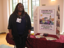 Loretta Dickerson-Smith displays her project on coping with loss.