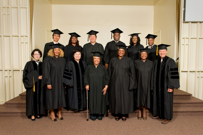ABSW Class of 2013: (Back Row) Byung-Hwoon Lee, Loretta Dickerson-Smith, Young Kwang Cho, Ronald Cole, Vickia Brinkley, Dwayne Eason, (Front row) Grace Cho, Christiana Felix, Ky Sun Youn, Paulette Anthony, Mary Breland, Brenda Dudley, and Stephen Moon (Not pictured: Vivian Wells and Emily Harrison).