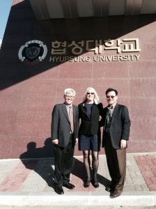 Dean Flesher with Dr Sam Park and Dr Youngil Kim at Hyupsung University where they met with 100 students to promote ABSW academic programs.