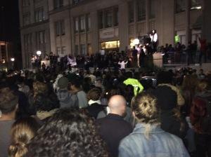 Protestors gathered to hear testimonies.