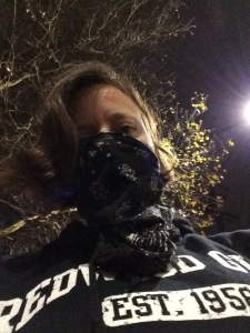 Professor Davidson wore a bandana across her face to protect herself from teargas.