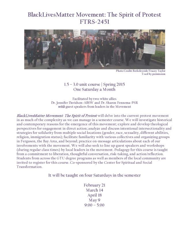 Announcement of BlackLivesMatter Course 2015